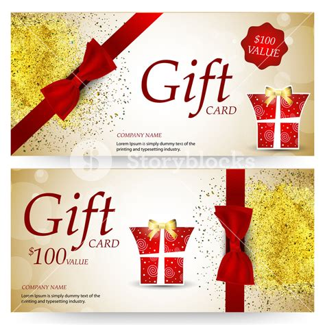 Free Gift Card Design - elegant sparkling gift voucher coupon or certificate design template with glossy red
