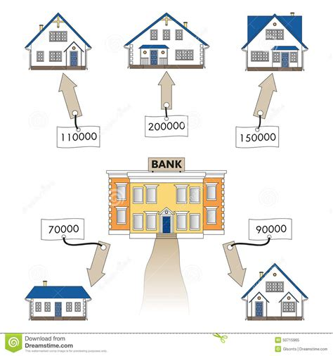 buying a house from owner with cash vector illustration mortgage loan to buy a house infographics mortgage loan as a