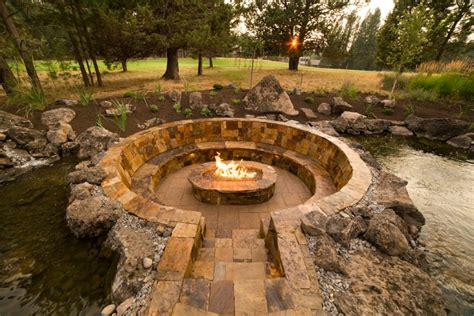 Brokentop Water Feature and Sunken Fire Pit Newport Ave Landscaping