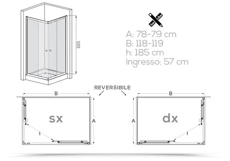 cabina doccia 80x120 cabina doccia 80x120 cm in cristallo trasparente con