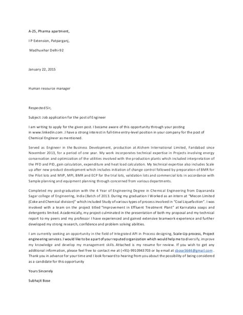 cover letter chemical engineering graduate entry level chemical engineer cover letter sle