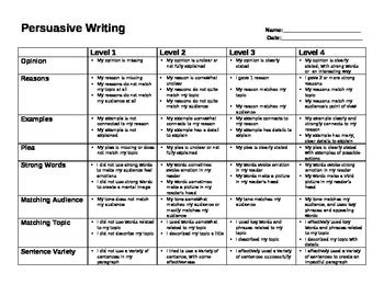 6 Paragraph Persuasive Essay Rubric by Grade 3 Persuasive Writing Rubric Ontario By S Class Tpt