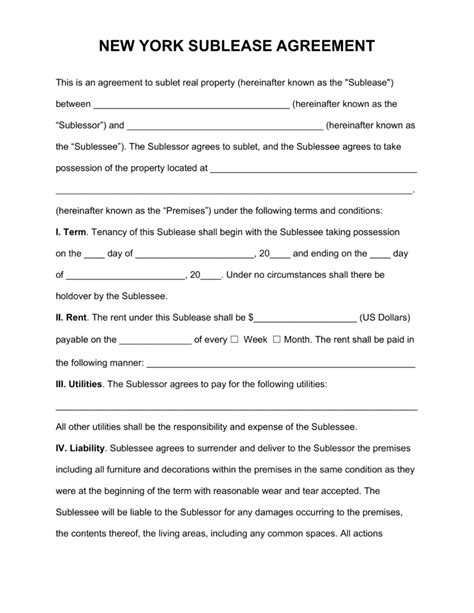 Sle Lease Termination Agreement New York Free New York Sublease Agreement Template Pdf Word Eforms Free Fillable Forms