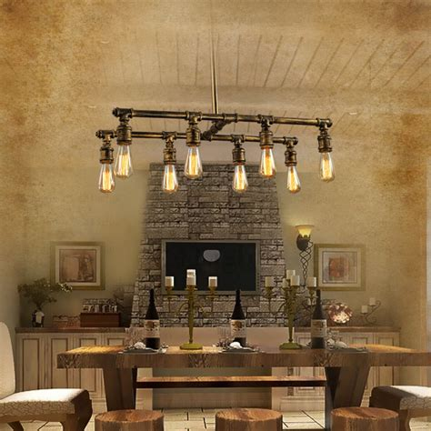 industrial style lighting loft 8 light industrial style lighting fixtures bar counter