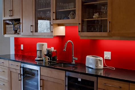 red kitchen backsplash glass backsplash
