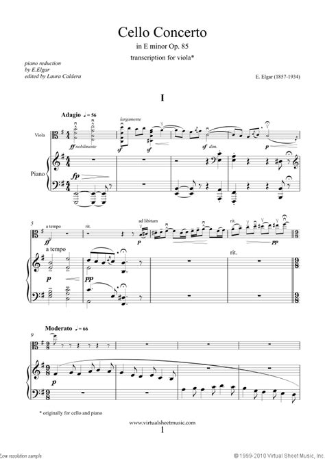 Elgar - Viola Concerto in E minor Op.85 sheet music for