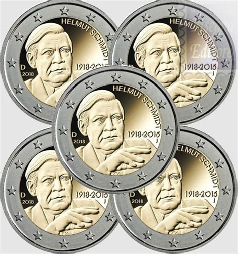 monete fior di conio monete fior di conio unc 2 germania 2018 x 5
