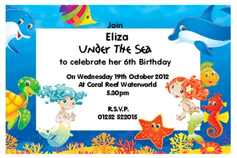 Under The Sea Party Invitations Theruntime Com The Sea Birthday Invitation Template
