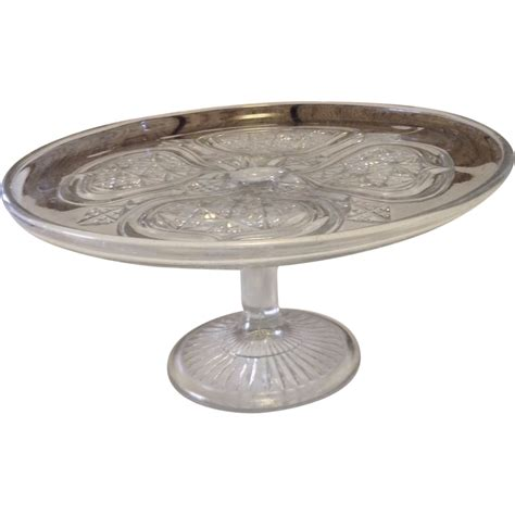Vintage Pedestal Cake Stand vintage glass pedestal cake stand from wildmeems on ruby