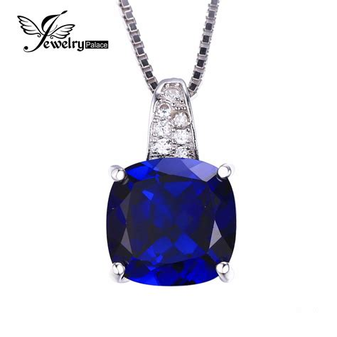jewelrypalace cushion 4 9ct created blue sapphire