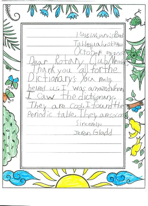 thank you letter to 3rd grade dictionaries