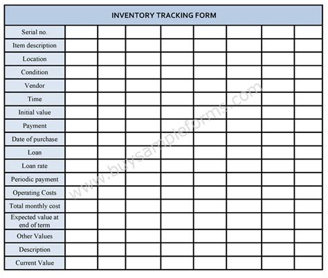 inventory tracking form inventory tracking template