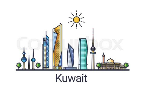 icon design kuwait banner of kuwait city skyline in flat line trendy style