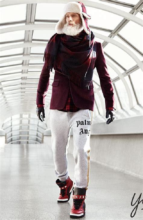 christmas themed clothing nz fashion santa model paul mason rocks white beard