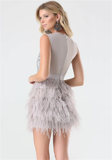 Dress Feather bebe rhinestone feather dress in pink lyst