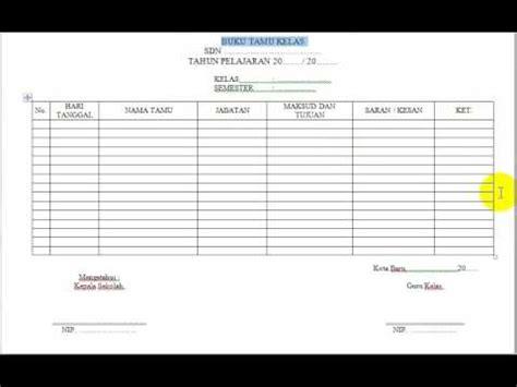 format buku tamu bimbingan konseling contoh format buku tamu kelas youtube
