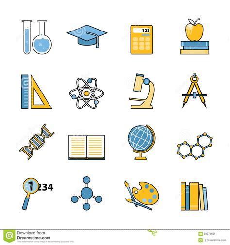 4 designer illustration style education set of education and learning line icons flat stock