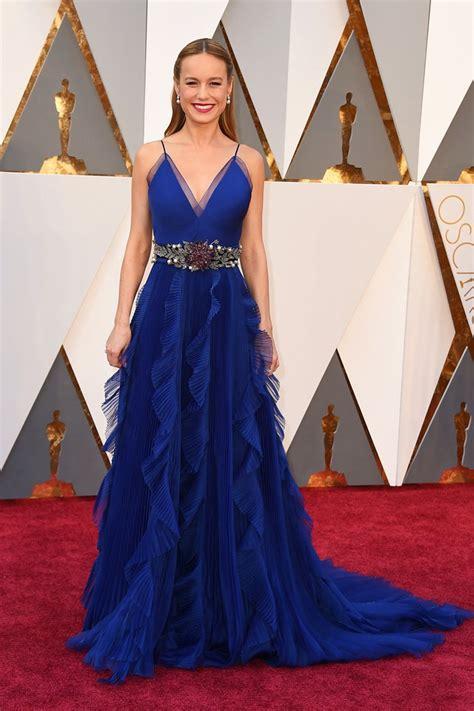 Navy Blue Dining Room brie larson ruffled blue v neck red carpet evening prom
