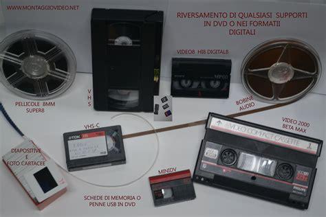 cassette vhs in dvd riversamento in dvd vhs vhs c video8 hi8 digital8 mini dv