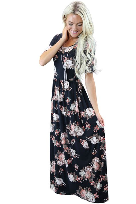 Modest Maxi Dresses by Miranda Modest Maxi Dress In Black Floral Print