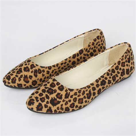womens leopard print flat shoes 2017 womens suede ballet casual shoes comfy