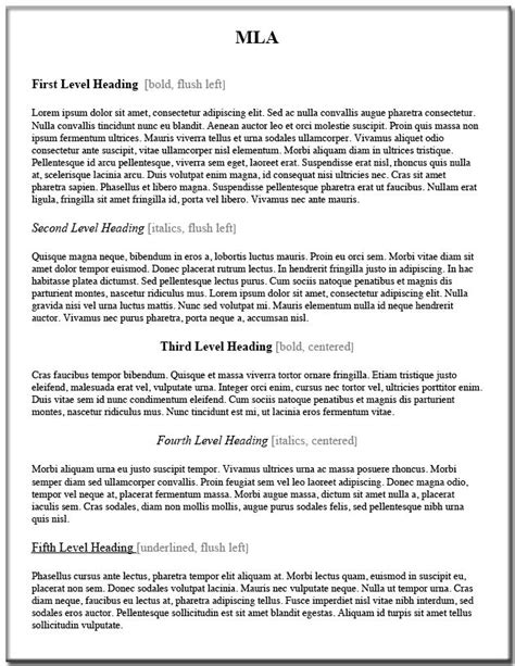 research paper section headings writing