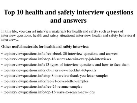 top 10 health and safety questions and answers