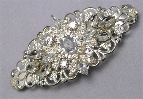 Vintage Bridal Hair Barrette by Rhinestone Barrette Wedding Bridal Hair Barette