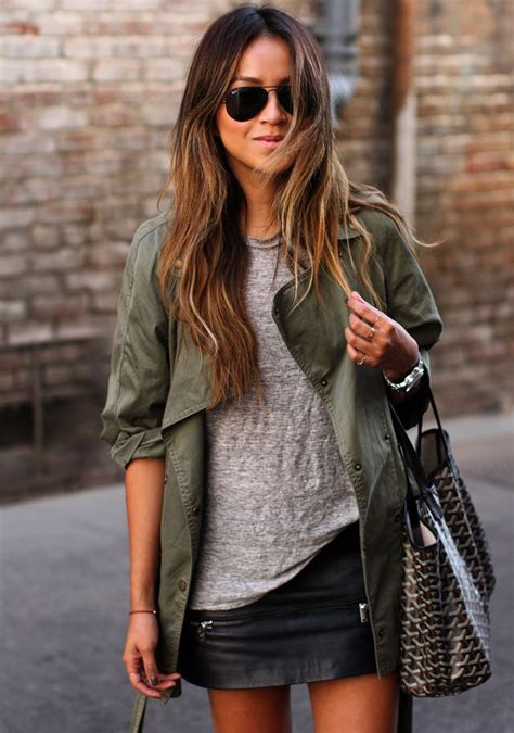 style staple the leather jacket style staple the leather mini skirt green
