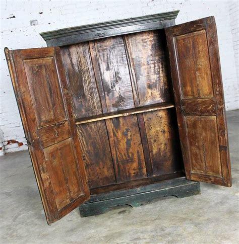 rustic primitive cupboard storage cabinet  distressed