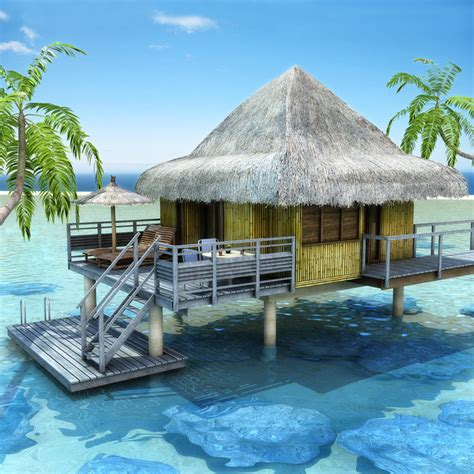beach bungalow plans tropical beach bungalow 3d obj