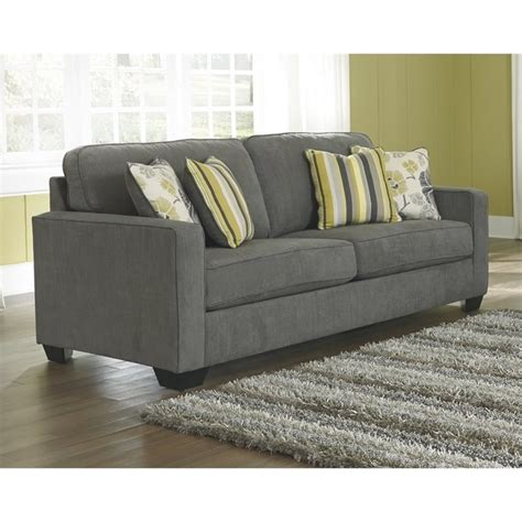 queen size sleeper couch ashley safia fabric queen size sleeper sofa in slate 9530139