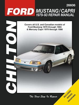 old car repair manuals 1986 mercury capri engine control ford mustang repair service manual 1979 1993 chilton 26606