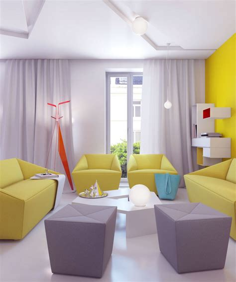 Bright Yellow Chair Design Ideas Inspiring Bright Living Room With Grey Yellow Furniture Decobizz