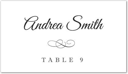 documents and designs place card template black meandering flourish folded place card template