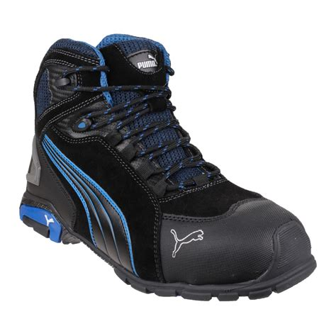 Safety Shoes Country Boots safety boots mid height black with blue contrast