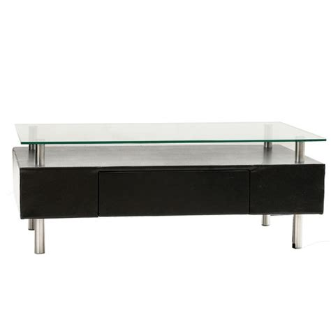 Santo Coffee Table W Drawer And Glass Top Cr Contemporary Glass Top Coffee Table With Drawers