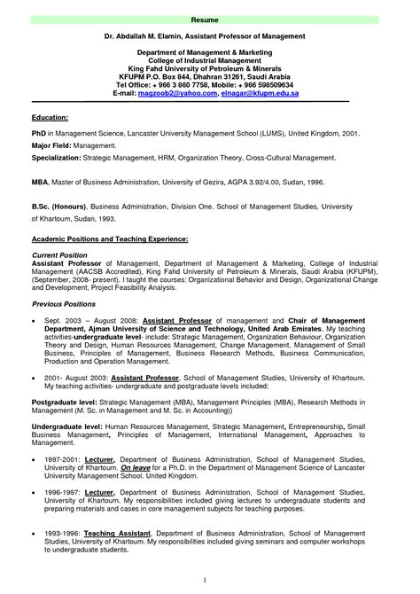 Resume Templates For College Professors Doc 618800 College Professor Resume Resume Exles Bizdoska