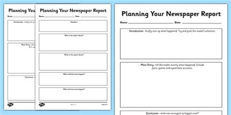 newspaper report newspaper report planning templates newspaper report