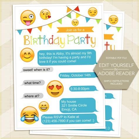 Emoji Birthday Card Template Fresh Kids Birthday Invitation Inspirational Invitations Smiley Emoji Birthday Card Template