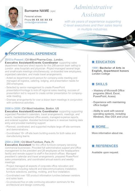 this microsoft word resume administrative