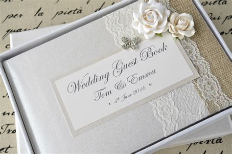 Wedding Book by Luxury Personalised Wedding Guest Book Album Set Lace