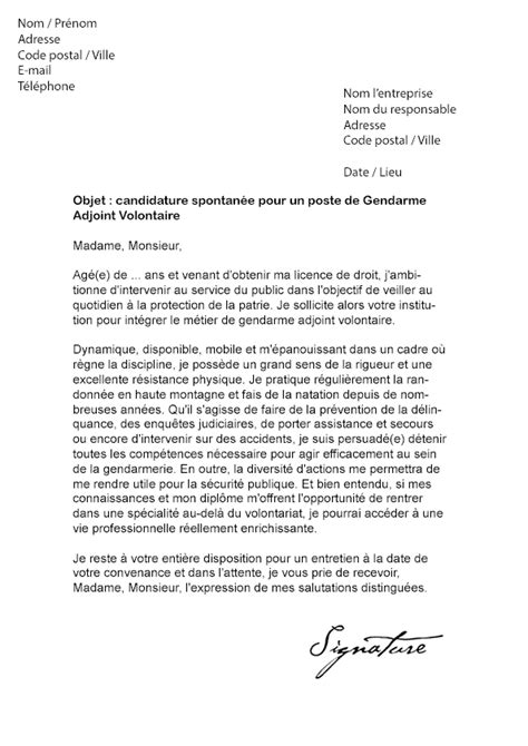 Lettre De Motivation De Gendarme exemple lettre de motivation gendarmerie