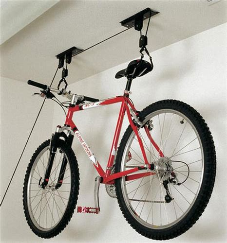 Hang Bike From Ceiling Pulley ceiling bike storage lift hang cycle bicycle garage shed
