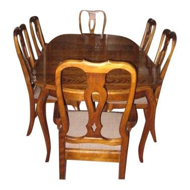 ethan allen country french dining room table  chairs