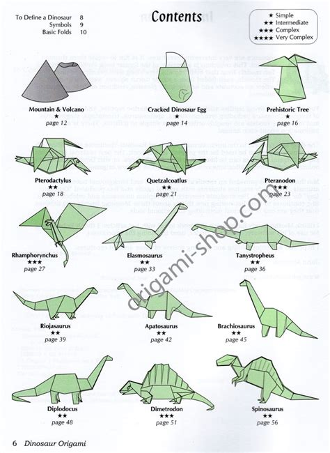 free coloring pages book dinosaur origami montroll