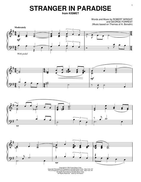sheet music paradise stranger in paradise sheet music direct