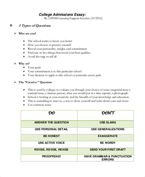 7 College Essay Exles Sle Templates Application Essay Template