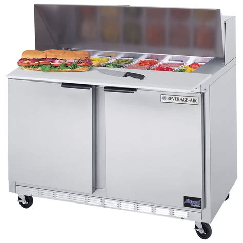 refrigerated sandwich prep table beverage air spe48 12 elite series 48 quot 2 door refrigerated