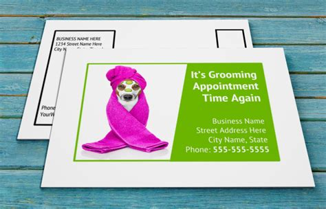 grooming appointment reminder cards templates free grooming postcards